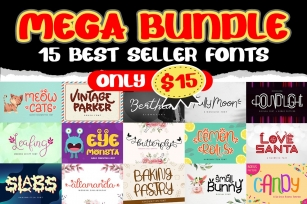 Mega Bundle - 15 Best Seller Fonts Font Download