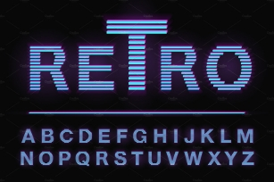 80's retro neon light style font Font Download
