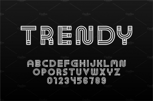 English trendy striped alphabet Font Download